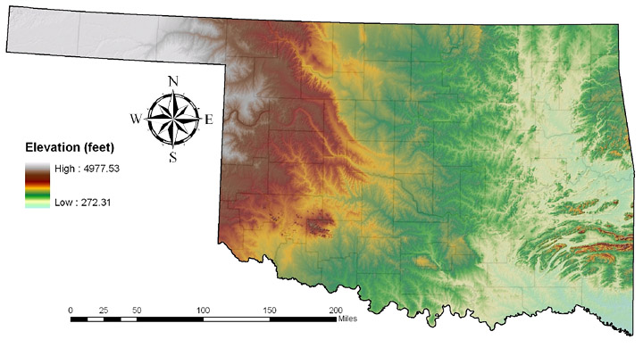 Oklahoma Elevations Map